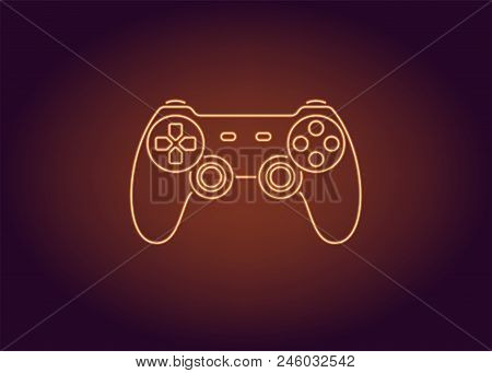 Neon Icon Of Orange Joystick. Vector Illustration Of Wireless Gamepad Consisting Of Neon Outlines. N