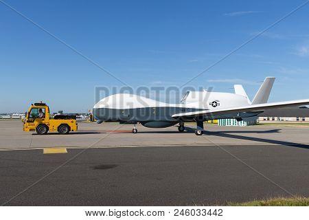 Raf Waddington, Lincolnshire, Uk - July 7, 2014: United States Navy Northrop Grumman Rq-4 Global Haw