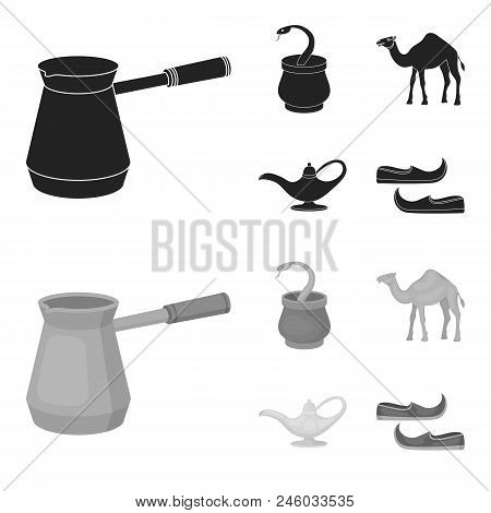 Cezve, Oil Lamp, Camel, Snake In The Basket.arab Emirates Set Collection Icons In Black, Monochrome