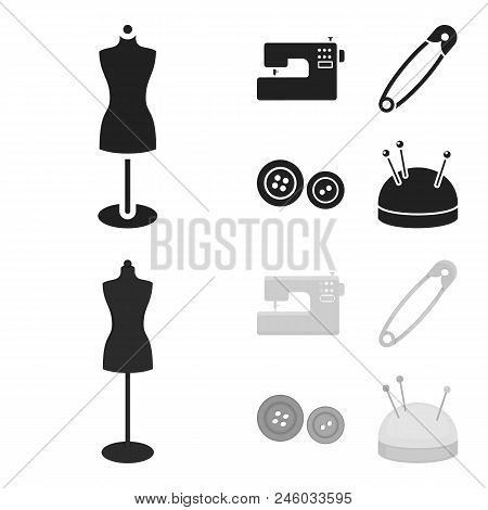 Electric Sewing Machine, Dummy On The Stand, Pin, Buttons.atelier Set Collection Icons In Black, Mon