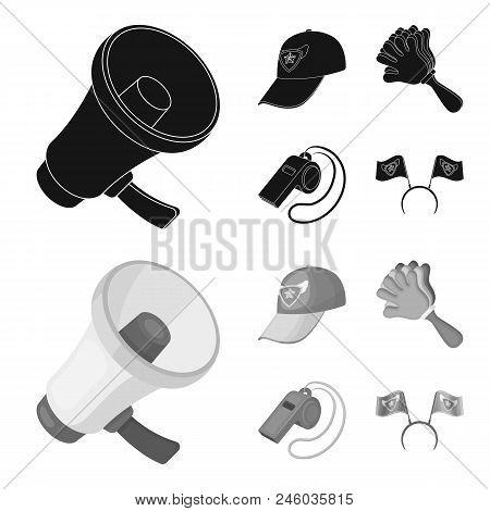 Megaphone, Whistle And Other Attributes Of The Fans.fans Set Collection Icons In Black, Monochrome S