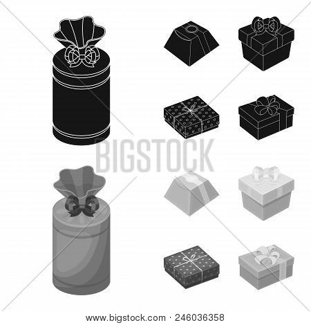 Gift Box With Bow, Gift Bag.gifts And Certificates Set Collection Icons In Black, Monochrome Style V