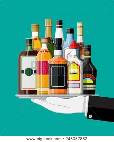 Alcohol Drinks Collection In Tray Of Waiter. Bottles With Vodka Champagne Wine Whiskey Beer Brandy T