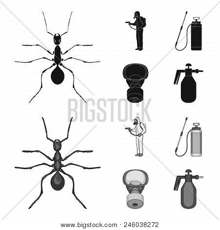 Ant, Staff In Overalls And Equipment Black, Monochrome Icons In Set Collection For Design. Pest Cont