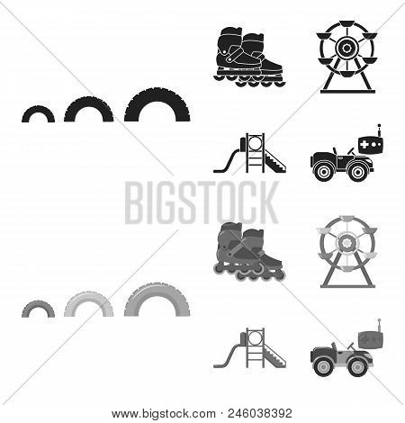 Ferris Wheel With Ladder, Scooter. Playground Set Collection Icons In Black, Monochrome Style Vector