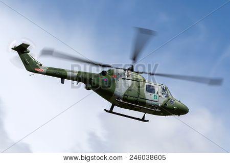 Raf Waddington, Lincolnshire, Uk - July 5, 2014: Westland Lynx Ah.7 Helicopter Xz184 Of The British