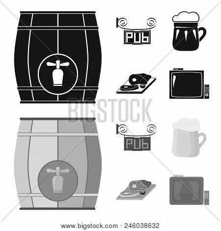 A Wooden Barrel With A Faucet, A Pub Sign, A Mug Of Beer, Pieces Of Meat On A Board.pub Set Collecti
