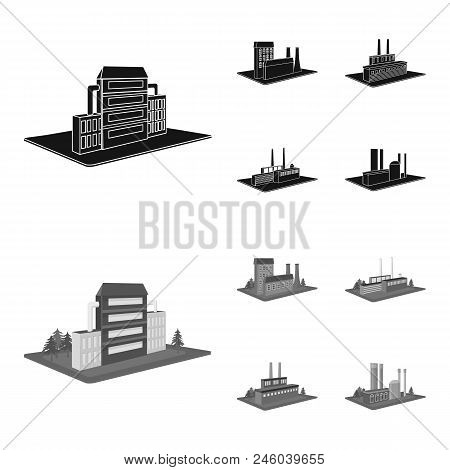 Processing Factory, Metallurgical Plant. Factory And Industry Set Collection Icons In Black, Monochr