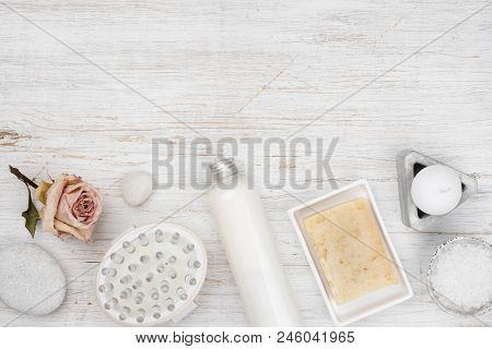 Spa Items And Decorative Cosmetics On Wooden Background, Top View