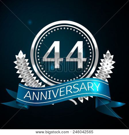 Realistic Forty Four Years Anniversary Celebration Design With Silver Ring And Laurel Wreath, Blue R