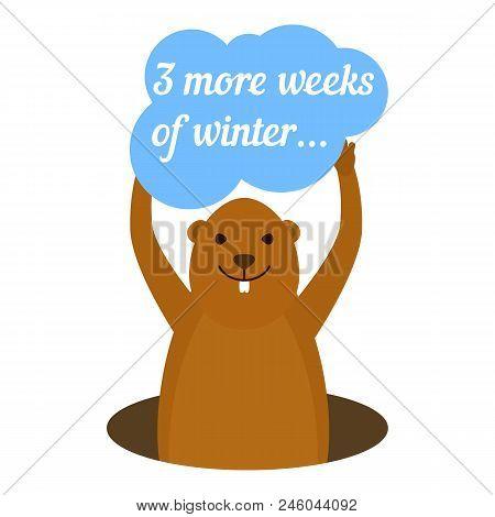 Groundhog 3 More Weeks Of Winter Icon. Flat Illustration Of Groundhog 3 More Weeks Of Winter Vector