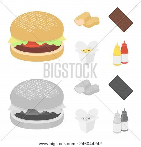 Chocolate, Noodles, Nuggets, Sauce.fast Food Set Collection Icons In Cartoon, Monochrome Style Vecto