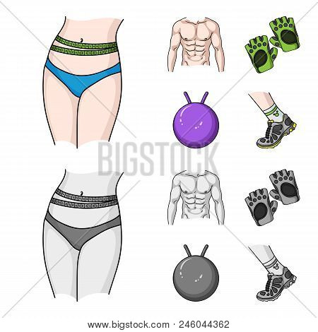 Men Torso, Gymnastic Gloves, Jumping Ball, Sneakers. Fitnes Set Collection Icons In Cartoon, Monochr