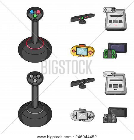 Game And Tv Set-top Box Cartoon, Monochrome Icons In Set Collection For Design.game Gadgets Vector S