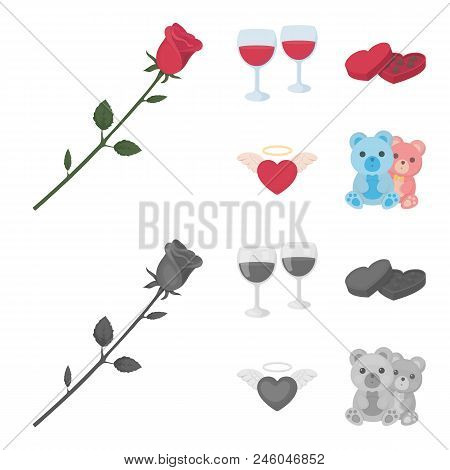 Glasses With Wine, Chocolate Hearts, Bears, Valentine.romantik Set Collection Icons In Cartoon, Mono