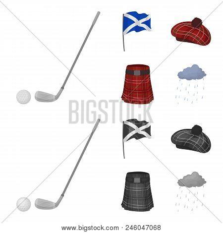 Flag, Kilt, Rainy Weather, Cap.scotland Country Set Collection Icons In Cartoon, Monochrome Style Ve