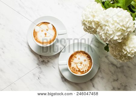 Latte Art Coffee - Bear And Lion Muzzles
