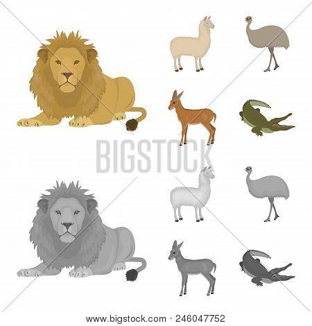 Lama, Ostrich Emu, Young Antelope, Animal Crocodile. Wild Animal, Bird, Reptile Set Collection Icons