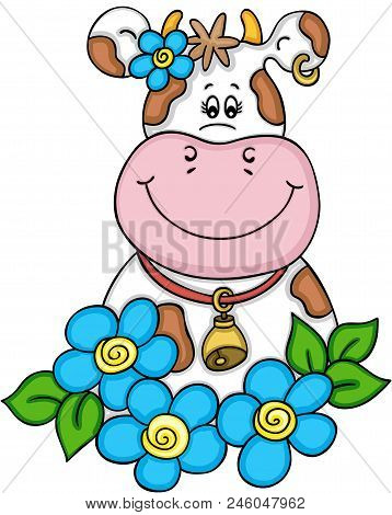 Scalable Vectorial Representing A Lovely Cow With Flowers, Element For Design, Illustration Isolated