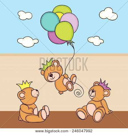Scalable Vectorial Representing A Three Teddy Bears Playing Background Illustration, Element For Des