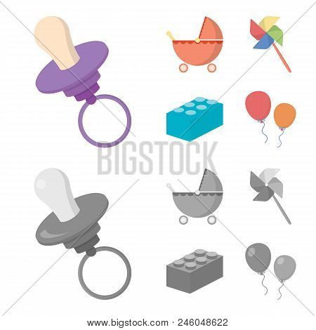Stroller, Windmill, Lego, Balloons.toys Set Collection Icons In Cartoon, Monochrome Style Vector Sym