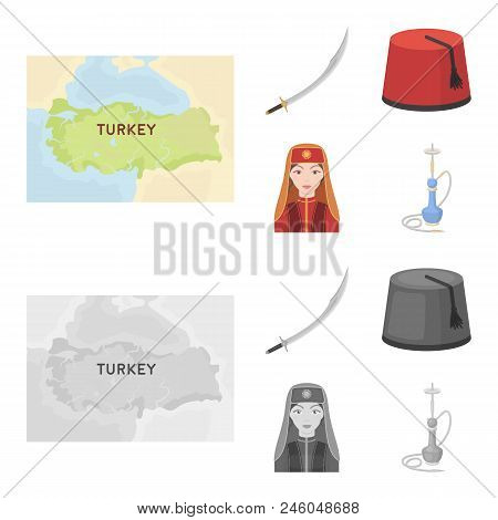 Turkish Fez, Yatogan, Turkish, Hookah.turkey Set Collection Icons In Cartoon, Monochrome Style Vecto