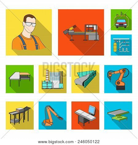 Equipment And Machine Flat Icons In Set Collection For Design. Technical Progress Of The Factory Vec