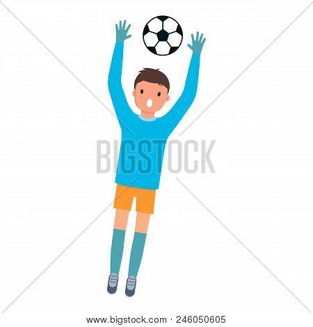 Goalkeeper Catch Ball Icon. Flat Illustration Of Goalkeeper Catch Ball Vector Icon For Web Design