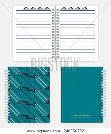 Notebook Design: Spread, Front And Back Cover. Spiral Bound Notepad Mockup. Silver Metal Spring Diar
