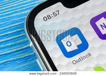 Sankt-petersburg, Russia, June 20, 2018: Microsoft Outlook Office Application Icon On Apple Iphone X