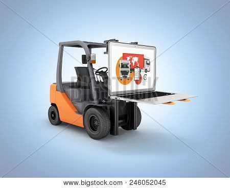 Concept Logistics Of Loading And Delivery The Forklift Lifts The Laptop Isolated On Blue Gradient Ba