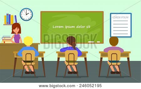 Classroom Lesson Background. Flat Illustration Of Classroom Lesson Vector Background For Web Design
