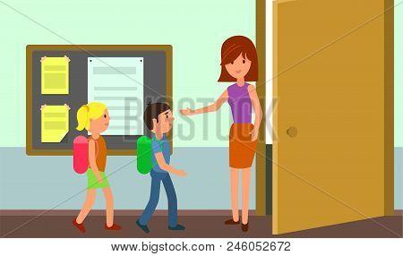 Kids Enter Classroom Background. Flat Illustration Of Kids Enter Classroom Vector Background For Web