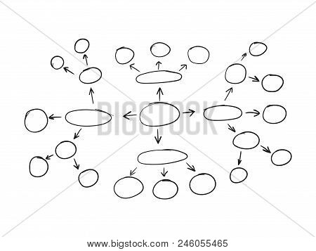 Vector Outline Mind Map, Hand Drawn Plan, Business Planning, Background Template.