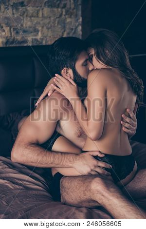 Beautiful Couple Of Young Brunet Bearded Macho Guy And Curly Gorgeous Brunette Lady, Almost Naked, A