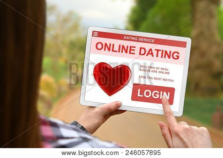 Online Dating Concept, Girl With Tablet Pc On Blurred Nature Background