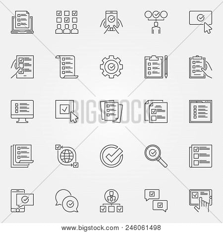 Survey Icons Set. Vector Checklist, To Do List And Online Survey Concept Symbols In Thin Line Style