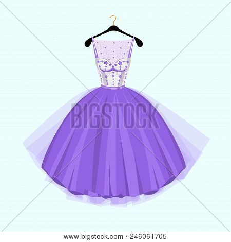 Violet Party Dress.  Vintage Style Party Dress With Flowers Decoration.vector Illustration. Fashion