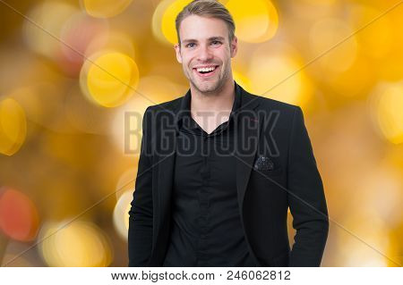 Corporate Dress Code. Man Happy Formal Black Suit Festive Blurred Background. Business Casual. Casua