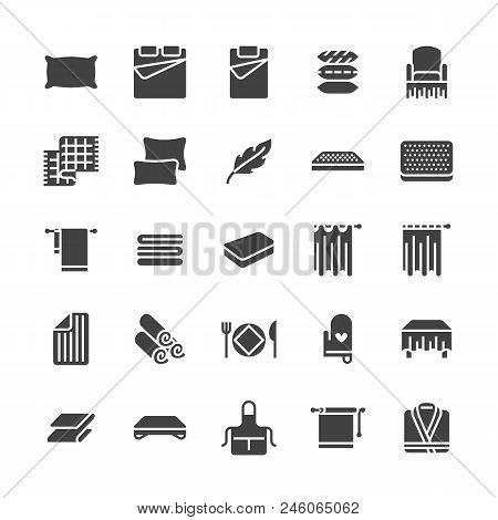 Bedding Flat Glyph Icons. Orthopedics Mattresses, Bedroom Linen, Pillows, Sheets Set, Blanket And Du