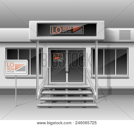Template For Advertising 3d Store Front Facade. Shop Exterior For Corporate Identity. Blank Mockup O