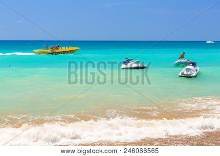 Side, Turkey - June 6, 2018: Jetskies on the beach on Turkish Riviera near Side. Turkish Riviera is a popular tourist destination on the southwest Turkey area.