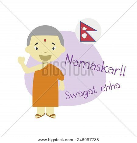 Vector Illustration Of Cartoon Character Saying Hello And Welcome In Nepali