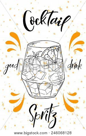 Spritz Cocktail. Hand Drawn Drink On White Background. Vector Illustration.