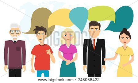 People Communicate With Each Other, Communicate People. People And Their Thoughts. Flat Design, Vect