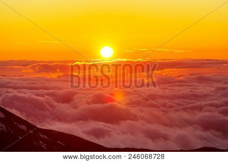 Sunset on  summit  Haleakala , Hawaii