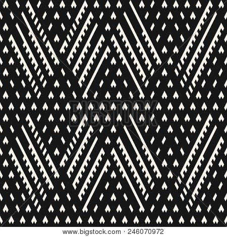 Vector Geometric Seamless Pattern. Ethnic Tribal Style. Abstract Black And White Knit Texture. Graph