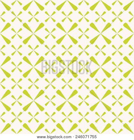 Vector Geometric Seamless Pattern. Summer Abstract Texture In Bright Green And Beige Colors. Simple