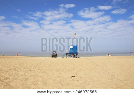 Lifeguard Tower And Car On The Beach. Lifeguard Cabin On Baltic Sea Beach In Lithuania.