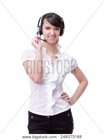 Closeup Portrait Of A Smiling Woman Operator Of A Call Center.isolated On White